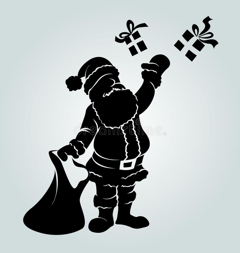 Силуэт вектора Санта Клауса с подарки иллюстрация вектора