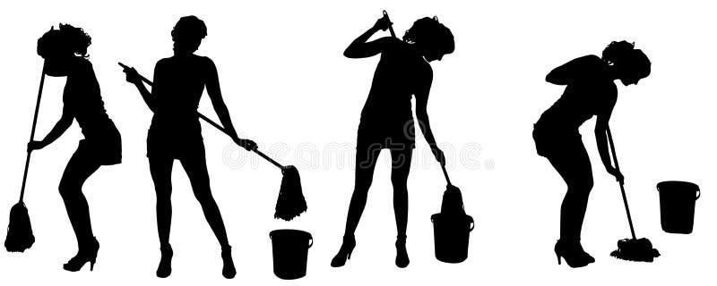 Силуэт вектора уборщицы бесплатная иллюстрация