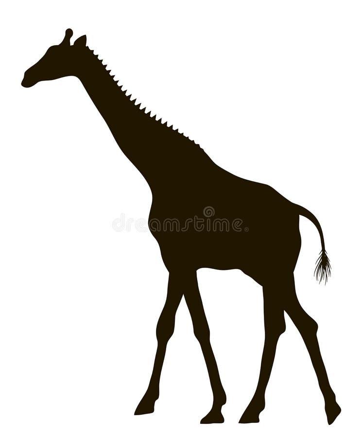 Силуэт вектора moving жирафа иллюстрация вектора