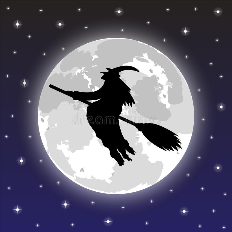 Силуэт ведьмы иллюстрация вектора