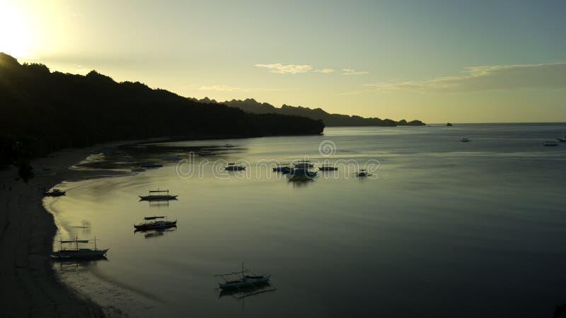 Силуэт восхода солнца тропический стоковые изображения