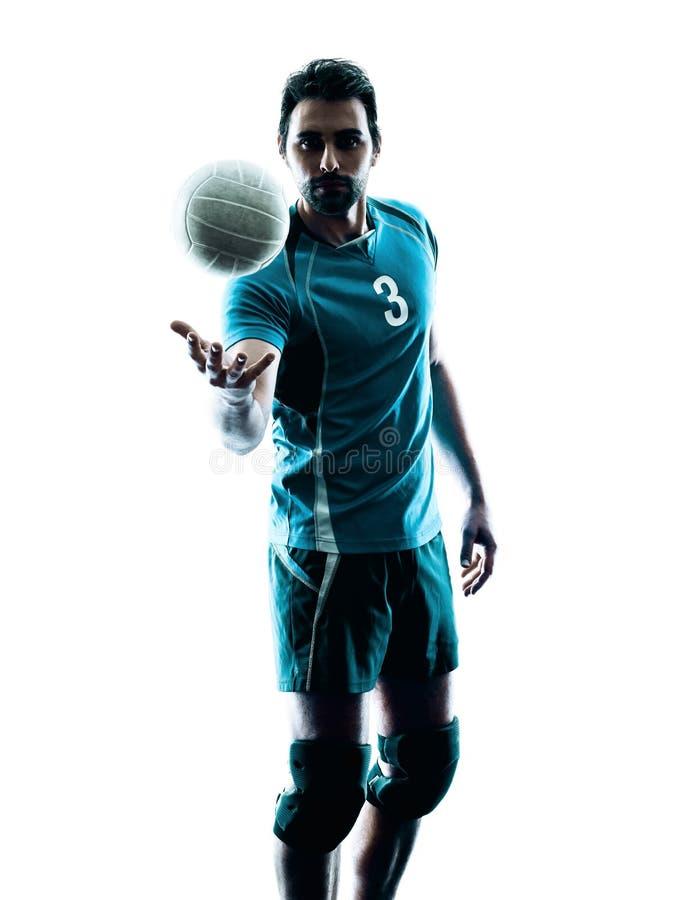 Силуэт волейбола человека стоковые фотографии rf