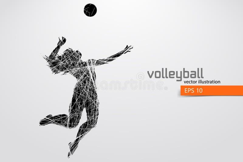 Силуэт волейболиста иллюстрация вектора