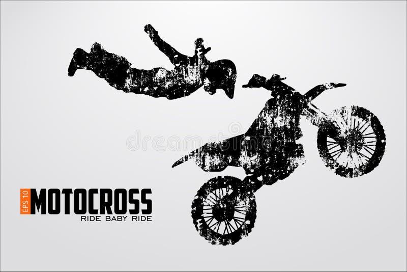 Силуэт водителей Motocross также вектор иллюстрации притяжки corel