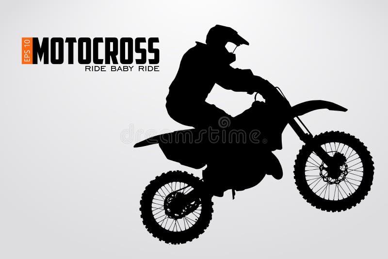 Силуэт водителей Motocross также вектор иллюстрации притяжки corel иллюстрация штока