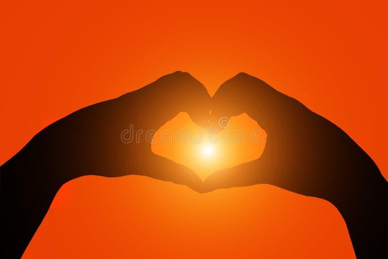 Силуэт вручает форму сердца стоковые изображения