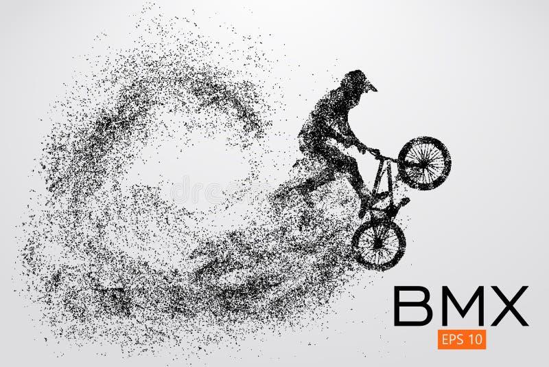 Силуэт всадника BMX также вектор иллюстрации притяжки corel