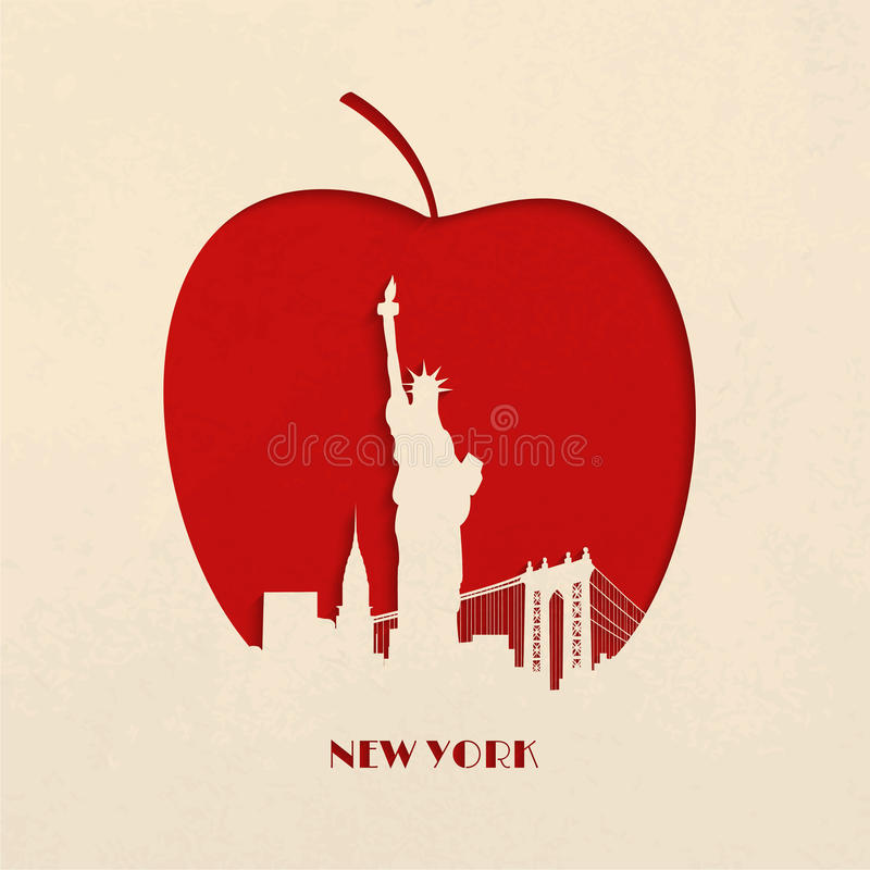 Download Силуэт выреза большого Яблока Нью-Йорка Иллюстрация вектора - иллюстрации насчитывающей зодчества, карточка: 40581697