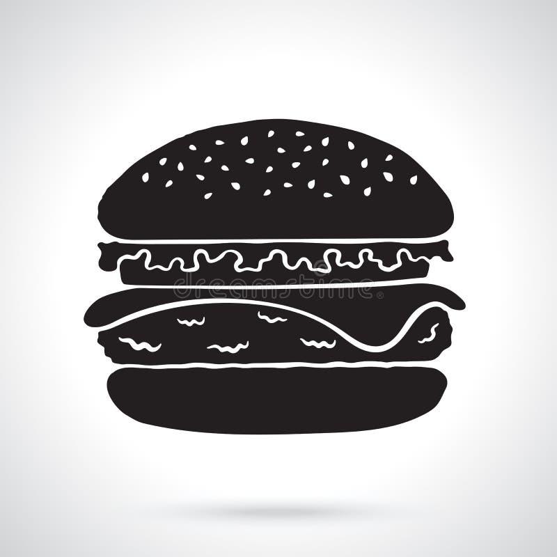 Силуэт гамбургера с сыром, томатом и салатом иллюстрация вектора