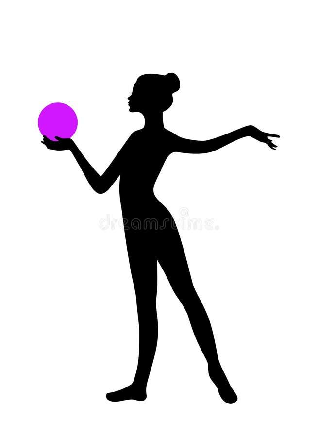 Силуэт гимнастической девушки с шариком бесплатная иллюстрация
