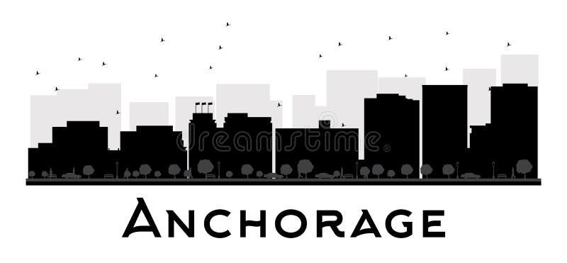Силуэт горизонта города Анкоридж черно-белый бесплатная иллюстрация