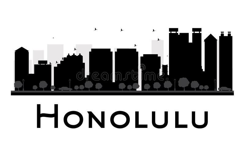 Силуэт горизонта города Гонолулу черно-белый иллюстрация штока