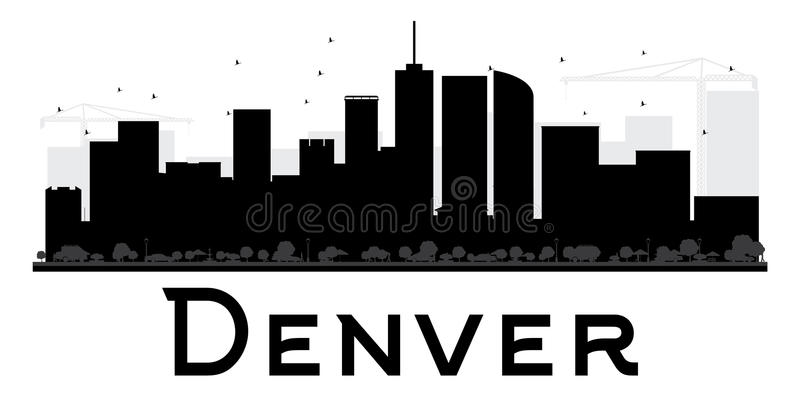 Силуэт горизонта города Денвера черно-белый бесплатная иллюстрация