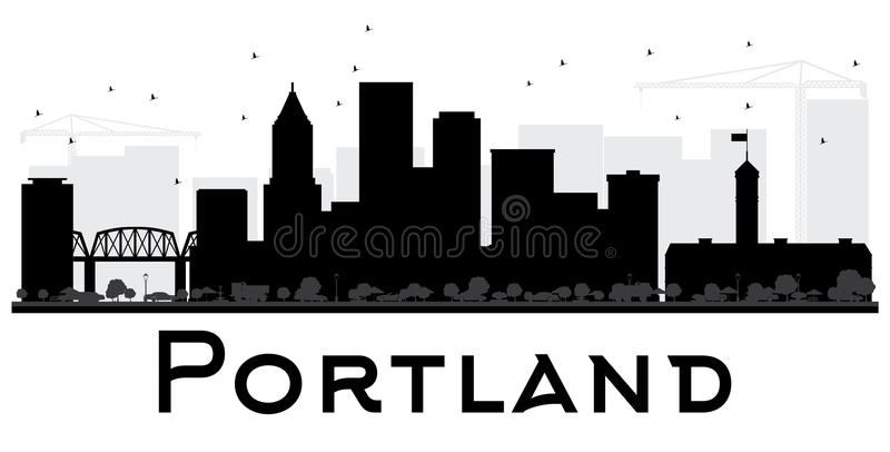Силуэт горизонта города Портленда черно-белый иллюстрация вектора