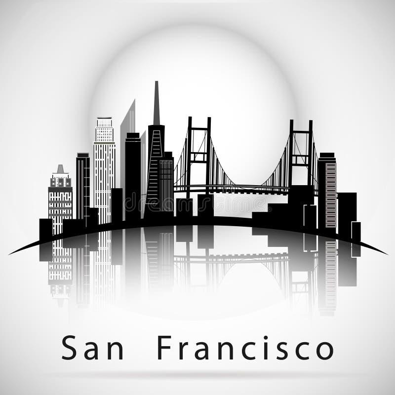 Силуэт горизонта города Сан-Франциско иллюстрация вектора