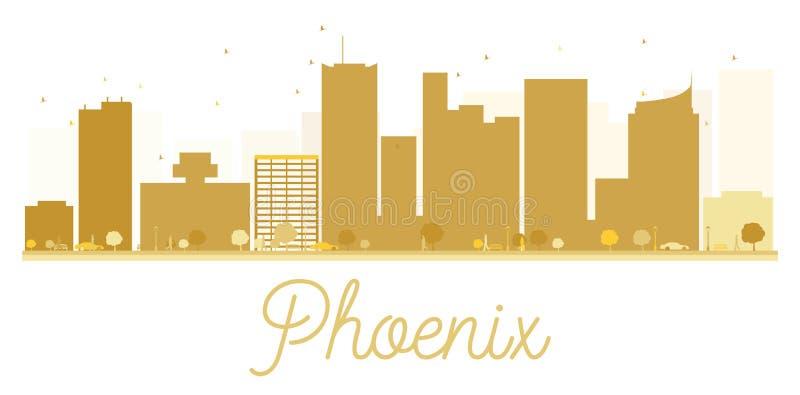 Силуэт горизонта города Феникса золотой иллюстрация вектора