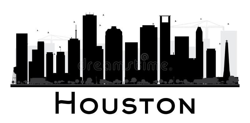 Силуэт горизонта города Хьюстона черно-белый иллюстрация штока