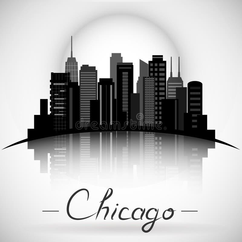 Силуэт горизонта города Чикаго Иллинойса Типографская конструкция бесплатная иллюстрация