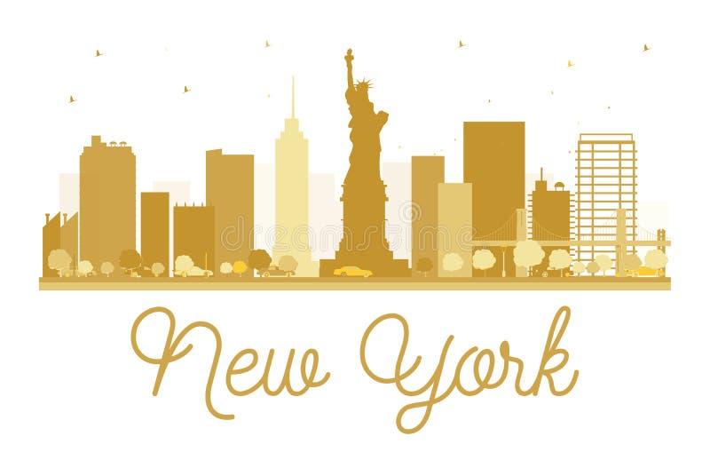Силуэт горизонта Нью-Йорка золотой бесплатная иллюстрация