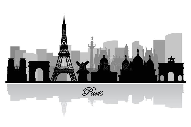 Силуэт горизонта Парижа вектора иллюстрация вектора