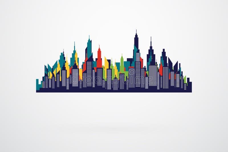 Силуэт горизонта современного города ретро иллюстрация вектора