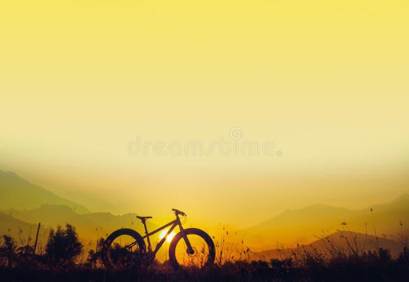 Силуэт горного велосипеда на красивом заходе солнца, fatbike силуэта стоковые фотографии rf