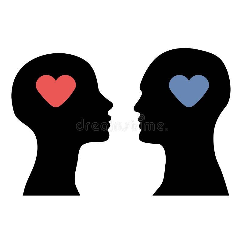 Силуэт головных людей и женщин с сердцем иллюстрация вектора