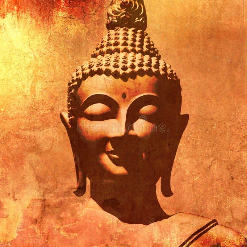 Силуэт головы Будды в стиле картины grunge иллюстрация штока