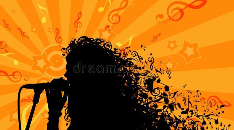 Силуэт головы женщины с волосами музыки иллюстрация вектора