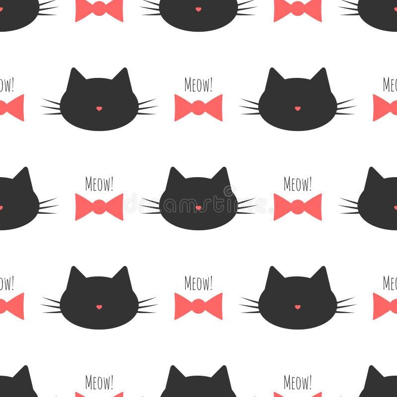 Силуэт головы ` s кота, смычок, Meow текста! Безшовная картина бесплатная иллюстрация
