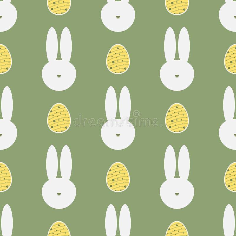 Силуэт головы ` s кролика и покрашенных яичек картина пасхи безшовная бесплатная иллюстрация