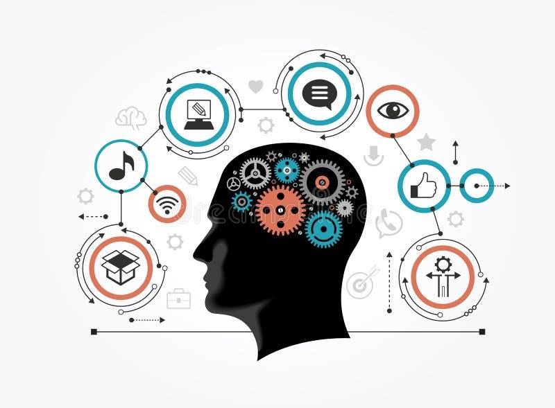 Силуэт головы ` s человека с шестернями в форме мозга окруженного значками иллюстрация штока