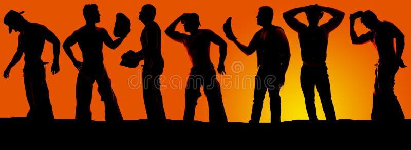 Силуэт группы в составе ковбои в заходе солнца стоковая фотография