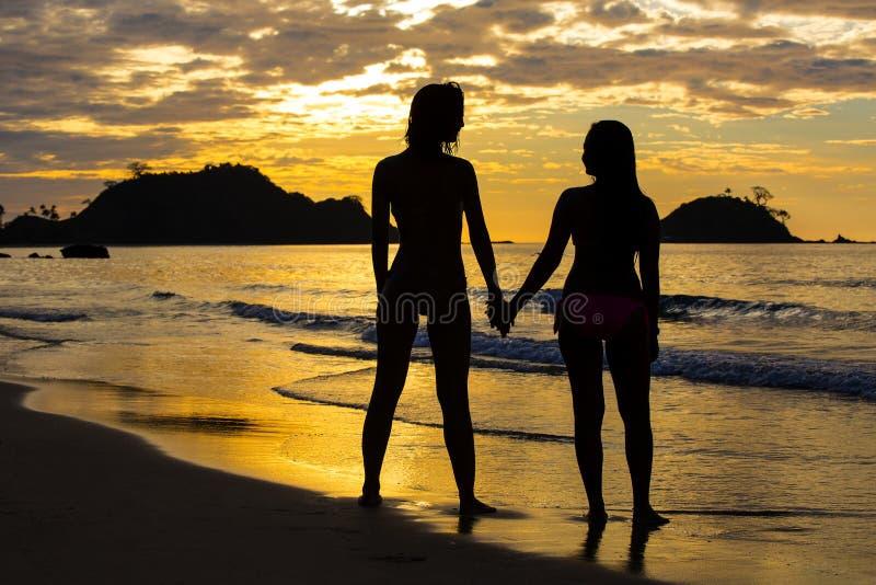 Силуэт 2 девушек на заходе солнца стоковое изображение