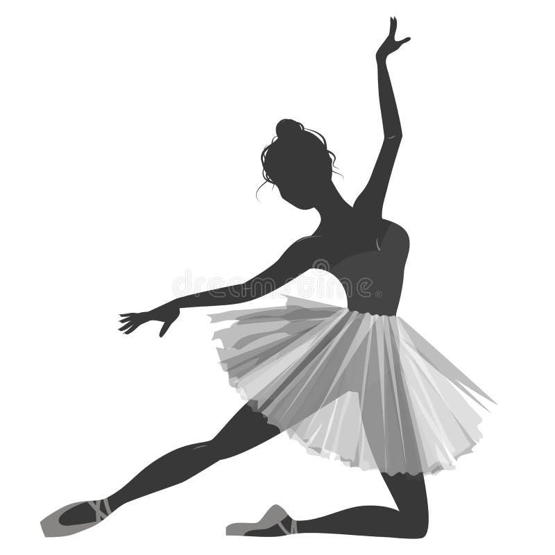 Силуэт девушки балерины изолированный на белой предпосылке бесплатная иллюстрация