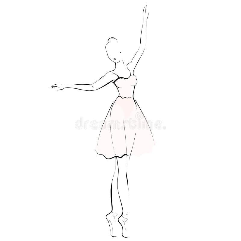 Силуэт девушки балерины изолированный на белой предпосылке иллюстрация вектора