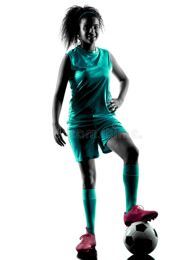Силуэт девушки подростка изолированный футболистом стоковое фото