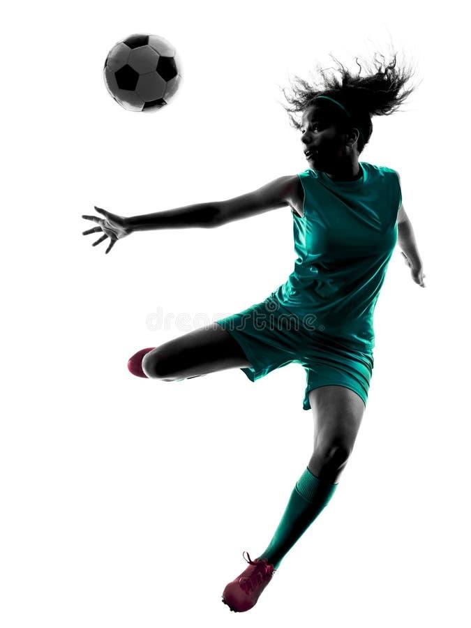 Силуэт девушки подростка изолированный футболистом стоковое изображение rf