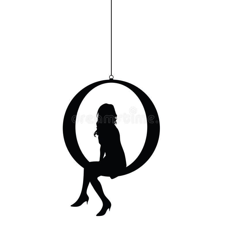 Силуэт девушки распологая иллюстрацию в черном цвете иллюстрация вектора