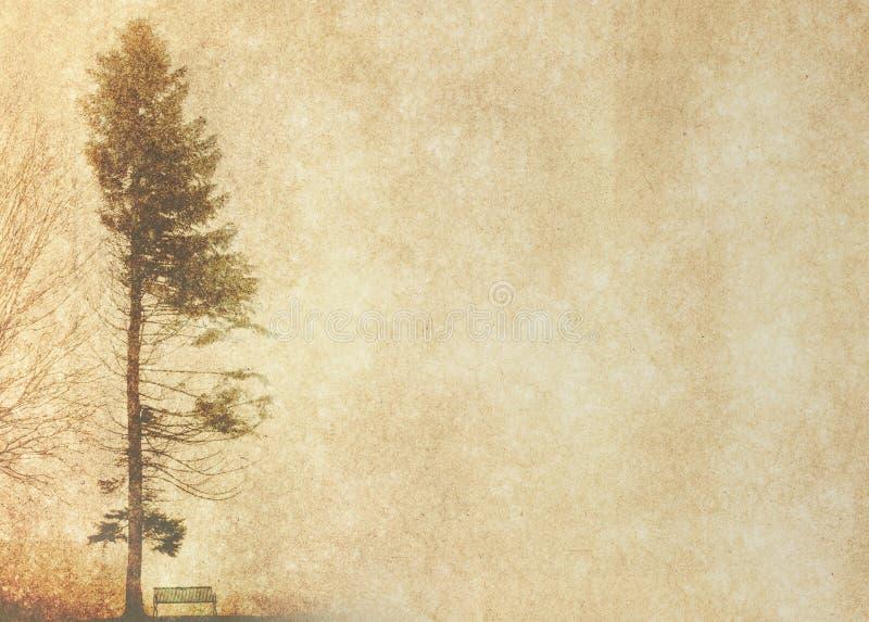 Силуэт дерева в зиме на винтажной предпосылке стоковые изображения
