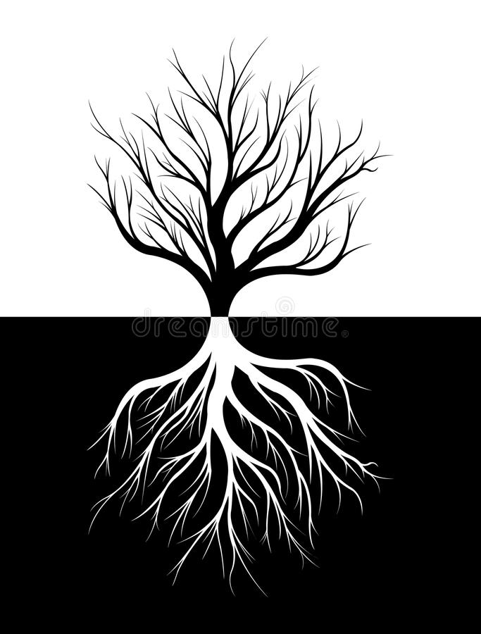 Силуэт дерева и своих корней бесплатная иллюстрация