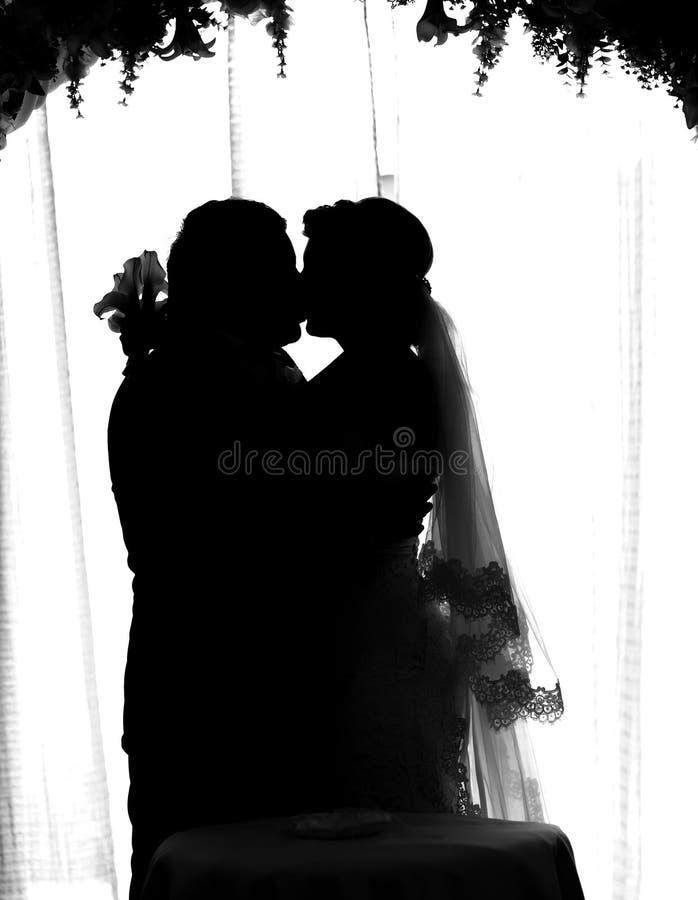 Силуэт жениха и невеста стоковые фото