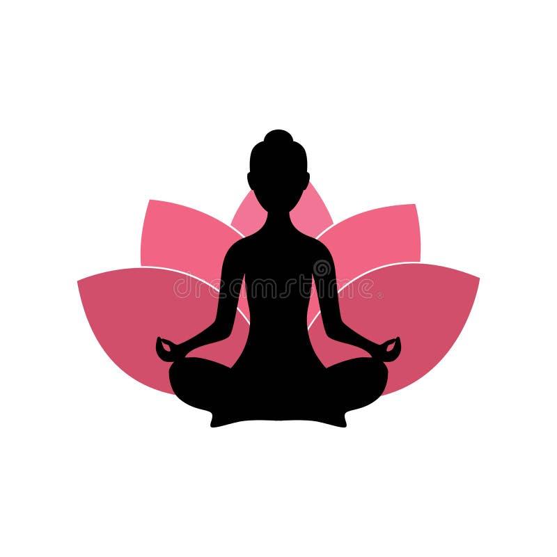 Силуэт женщины йоги, розовый дизайн логотипа предпосылки цветка лотоса иллюстрация штока