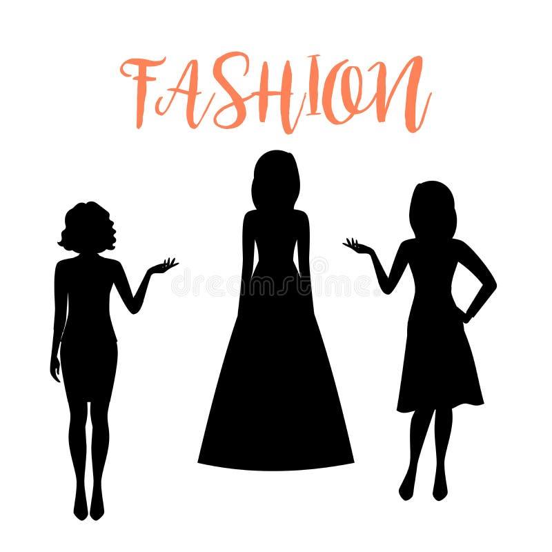 Силуэт женщины моды в платьях лета иллюстрация вектора