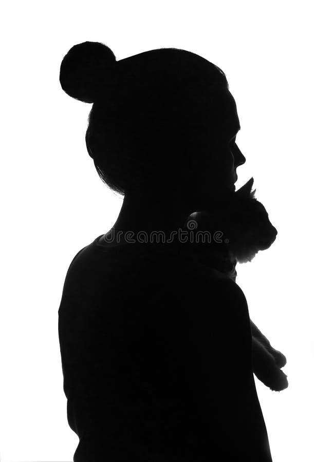 Силуэт женщины с котом в ее руках стоковые изображения
