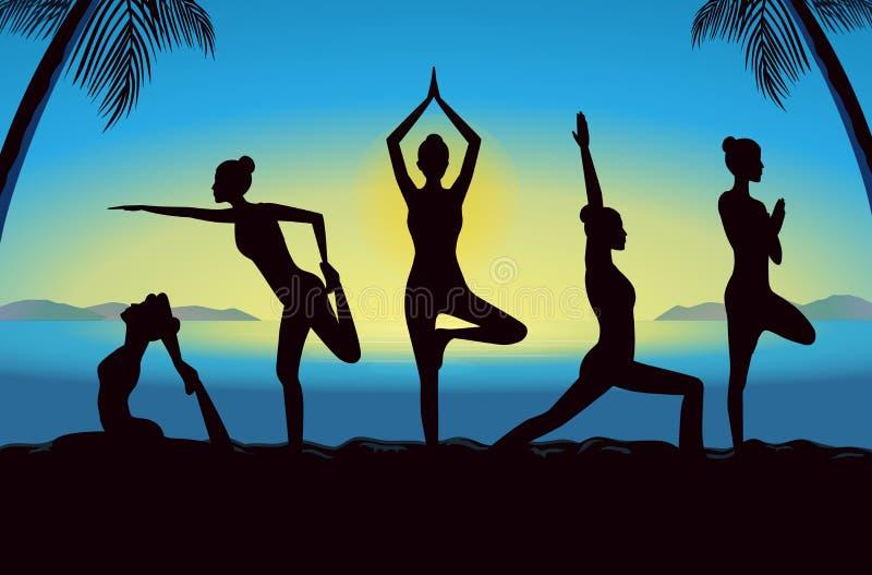 Силуэт женщин собирает представлять различную позицию йоги иллюстрация штока