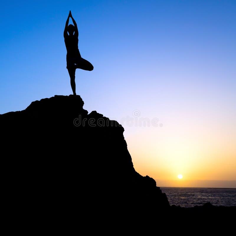 Силуэт захода солнца дерева йоги тренировки женщины стоковые изображения
