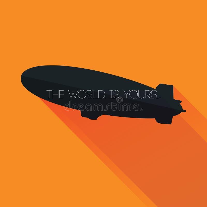 Силуэт Зеппелина с: Мир твое, текст над вектором иллюстрация вектора