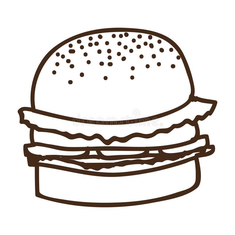 силуэт значка еды гамбургера иллюстрация штока