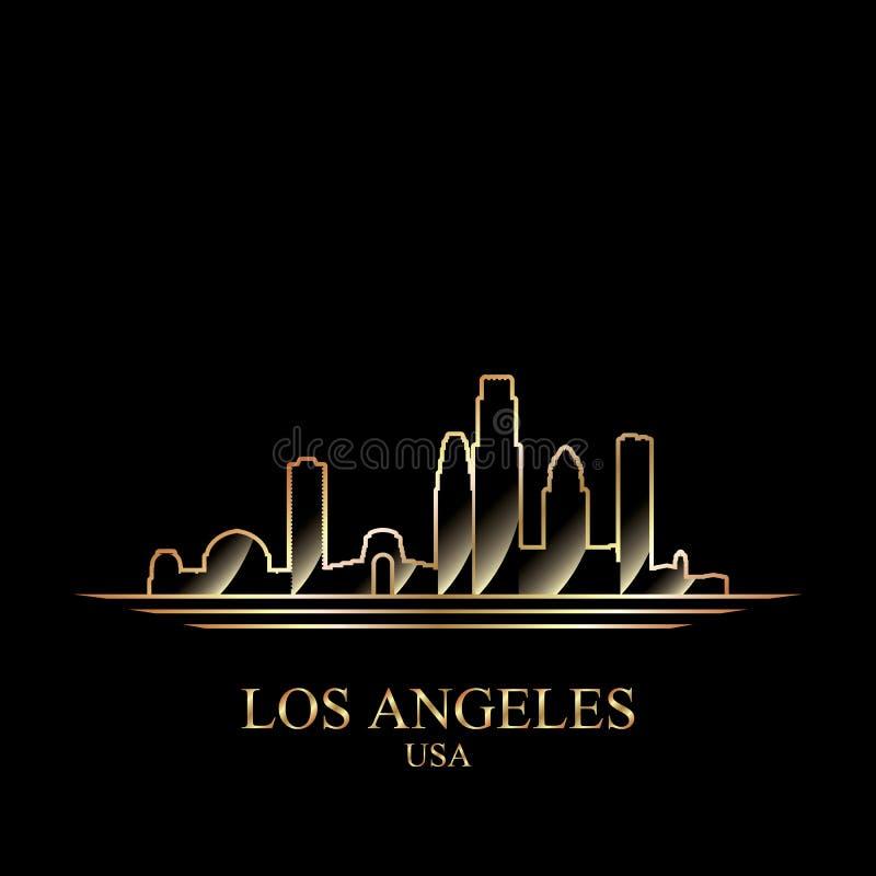 Силуэт золота Лос-Анджелеса на черной предпосылке иллюстрация вектора